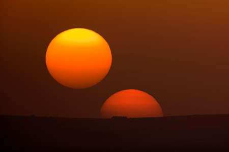 poweron: A double sunset in the Sicily landscape Stock Photo