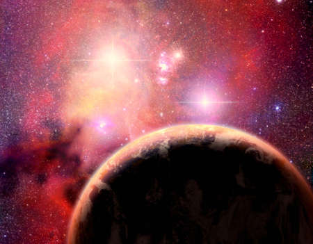 An immaginary planet in a binary star system Reklamní fotografie