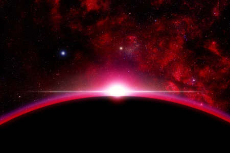 A space illustration of a sunrise to the space