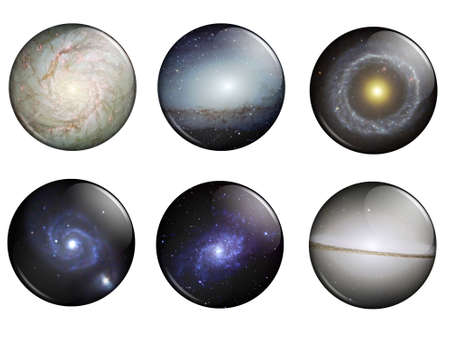 astronomical: A set of Galaxies buttons with astronomical hires image for web application Stock Photo