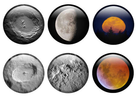 astronomical: A set of Lunar Buttons with astronomical hires image for web application