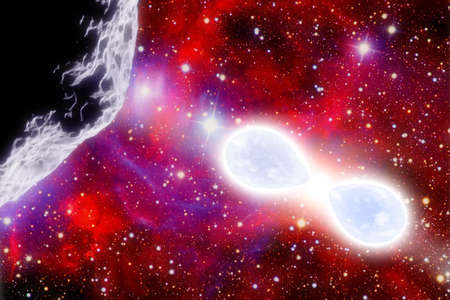 Two giant blue star in symbiotic stellar system. First plane an asteroid