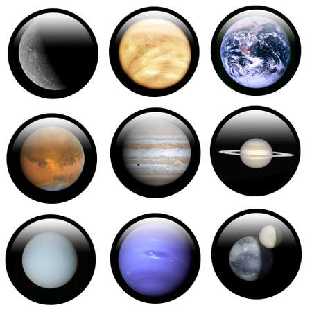 System Solar Buttons are illustrations switch with astronomical hires image for web application illustration