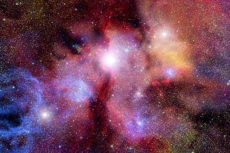 Very realistic stellar field with red nebulae