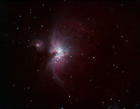 orion: Image to the telescope of the Orions Nebula in Orion constellation Stock Photo