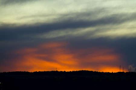 poweron: A suggestive cloud sunset in sicilian landscape Stock Photo