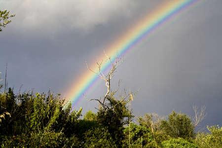 Suggestive Rainbow of winter landscape in sicilian hinterland