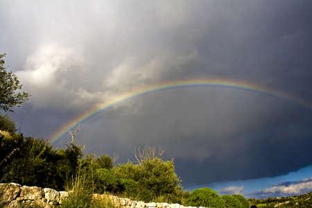 a mirage: Suggestive Rainbow of winter landscape in sicilian hinterland