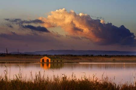 poweron: Sunset to Vendicari is a suggestive photo of sicilian landscape Stock Photo