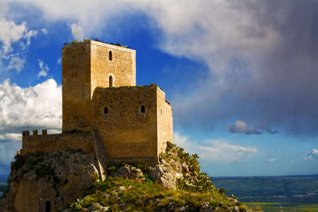 tremor: Castle of Serravalle very old medieval castle in Mineo country - Catania - Sicily - Italy