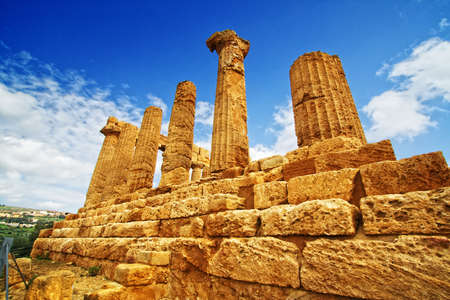 agrigento: Extraordinary greek temple in the Valley of the Temples in Agrigento - Sicily Stock Photo