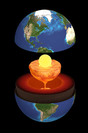 Rendering 3D of the inner structure of the earth. Scientific rappresentation.