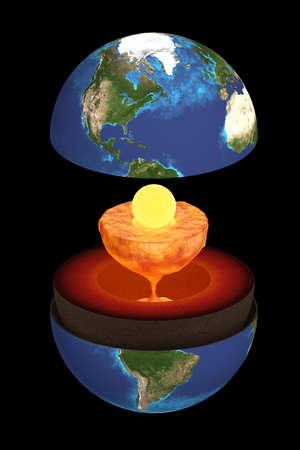 지구의 내부 구조의 3D 렌더링. 과학적 분노.