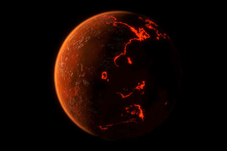 This image represent a generic volcanic planet or earth formation. It is a realistic 3d rendering