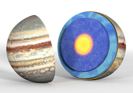 This image represents the internal structure of the Jupiter planet. It is a realistic 3d rendering