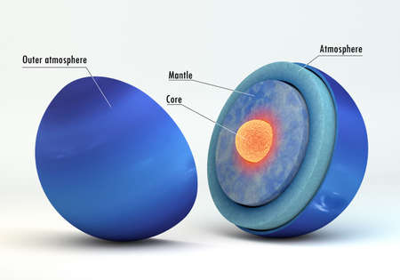 This image represents the internal structure of the Neptune planet with captions. It is a realistic 3d rendering