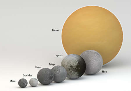 This image represents the comparison between the moons of Saturn in size comparison in a precise and scientific design with captions.This is a 3d rendering.