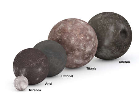 This image represents the size comparison between the moons of Uranus in a precise scientific 3D design with captions.
