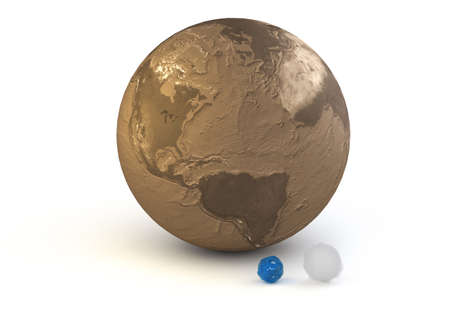 This is rendering 3D of the comparison of the water and air masses of the planet Earth.