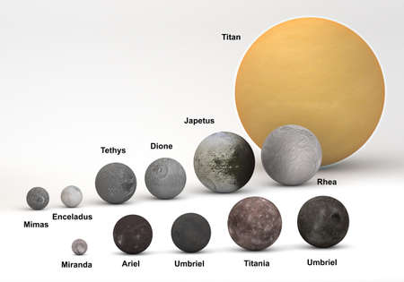 This image represents the size comparison between Saturn and Uranus moons in a precise and scientific design.This is a 3d rendering with captions.
