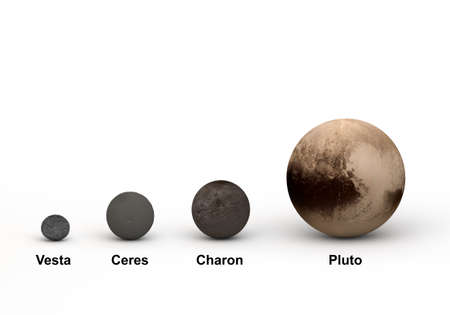 This image represents the size comparison between Pluto system and outer planet dwarf in a precise and scientific design.This is a 3d rendering.