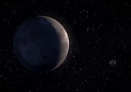 This image is a concept of the Makemake dwarf planet his small moon MK2 in a precise and scientific artwork design.This is a 3d rendering.