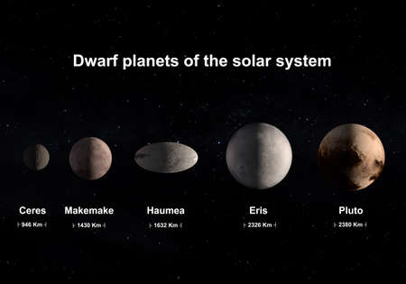 This image is a concept of the official dwarf planets of the solar system with correct size comparison. This is a rendering 3D in a scientific image concept. Archivio Fotografico