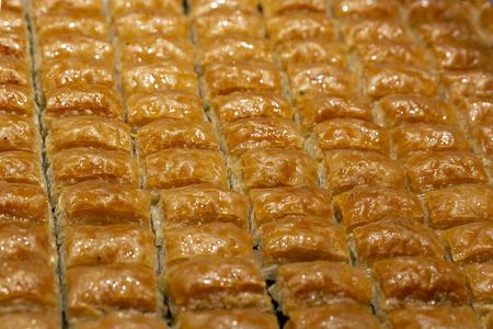 Baklava with pistachio, Turkish traditional dessert. Oriental sweets Stock Photo