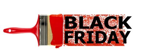 Black Friday labels. Artistic illustration inscription in black letters on a strip of red paint with a brush on a white background.