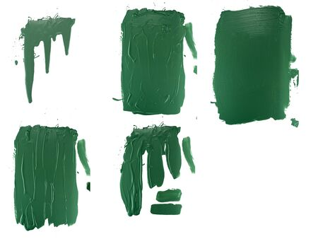 options flowing green paint on a white background. isolate. close up of paint leaking down Reklamní fotografie
