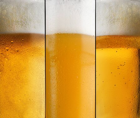 Background three different types of beer with foam in a glass with water drops and beautifully rising bubbles Stockfoto