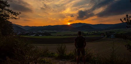 Sunset landscape in Grillenberg Austria