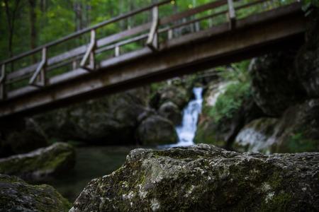 Cascade falls over mossy rocks - myrafalls Stok Fotoğraf