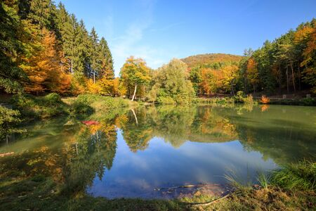beautiful reflecting Lake and Forest during Autumn in lower austria sparbach