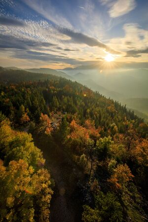 Autumn Forest landscape in the mountains of Austria - Hohe Wand during the Sunset Stockfoto