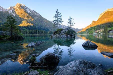 Wonderful sunrise of Hintersee lake. Amazing morning view of Bavarian Alps on the Austrian border, Germany,