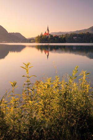 First light of sunrise on silhouette tower of Assumption of Mary church at Lake Bled. Stockfoto