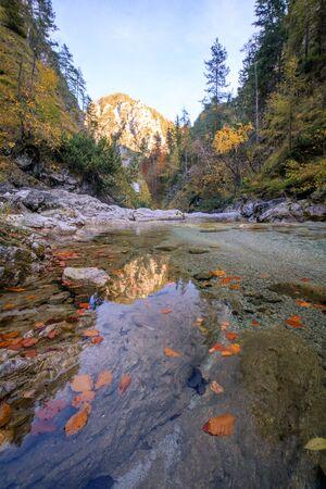 Autumn River in Valley Oetschergraben Austria, Lower Austria, Oetscher Mariazell, Oetscher valley