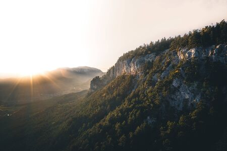 Autumn Forest Sunset landscape in the mountains of Austria - Hohe Wand Stockfoto
