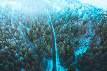 Snowy forest with a road captured from above with a drone