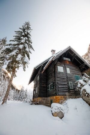 wooden house in winter forest in austria near Gosau Lake Stock Photo