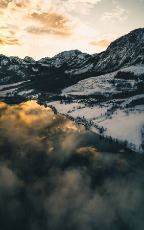 Beautifull winter mountain landscape during sunset in austria