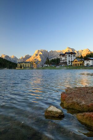 Wonderful sunny landscape. Misurina Lake or Lago di Misurina Italy. National Park Tre Cime di Lavaredo, Location Auronzo, Dolomiti Alps, South Tyrol, Italy. Awesome nature scenery.