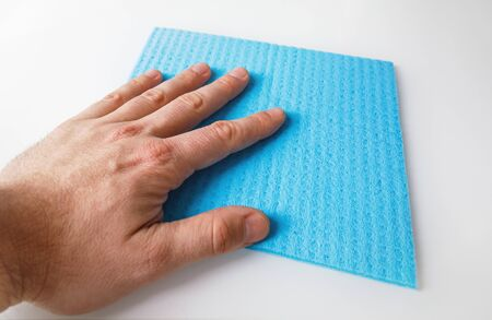 hand cleaning with sponge isolated on white background. Spring Cleaning Theme