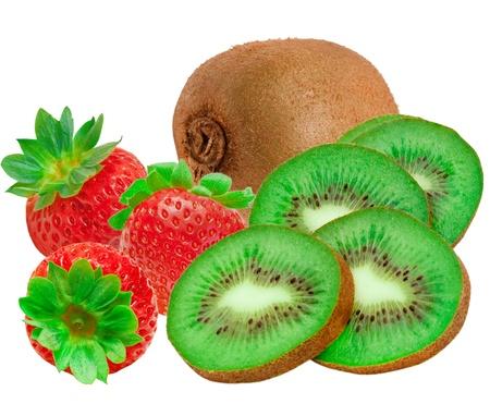 strawberry and kiwi isolated on white background photo