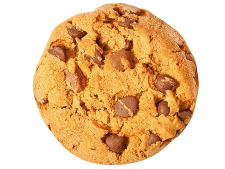 galleta de chocolate: galletas con chispas de chocolate aisladas sobre fondo blanco