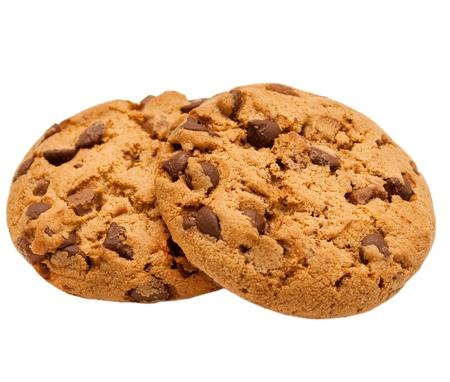 chocolate chip cookie geà ¯ soleerd op witte achtergrond Stockfoto