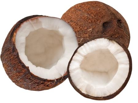 Kokosnuss auf weißem Hintergrund Standard-Bild