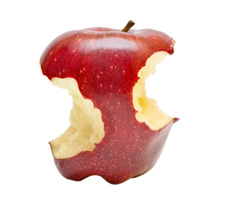 manzana roja: Bitten manzana roja sobre fondo blanco Foto de archivo