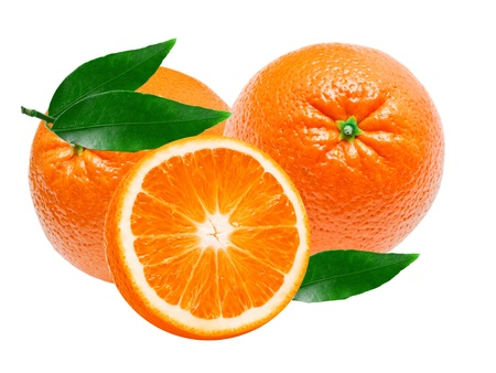 orange slice: orange isolated on white background Stock Photo